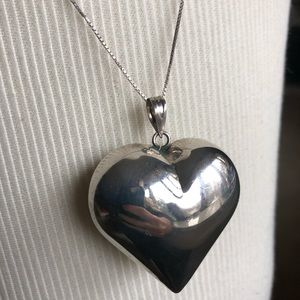 Jewelry - Sterling Silver large puff Heart Pendant Necklace